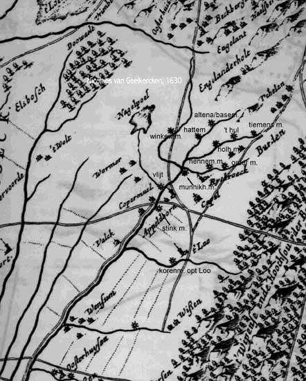 deel van de kaart van Geelkercken (1629)