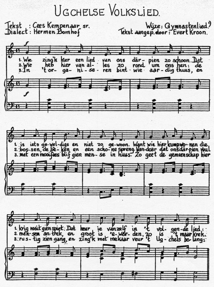 Het Ugchelse Volkslied, muziekblad 1